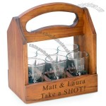 Shot Glass Beverage Wood Caddy