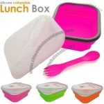 Silicone Folding Lunch Box with Spoke, Silicone Food Preservation Container