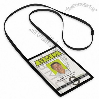 Silicone Lanyard Vertical Badge Holder Combo