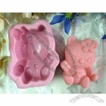 Silicone Lovely Kitty Handmade Soap Mould Biscuit Mold Square Mold