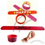 Silicone Slap Bracelet with flexible steel spring bands inside