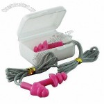Silicone ear plugs with cord and case