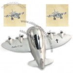 Silver 4 Prop Airplane Clock
