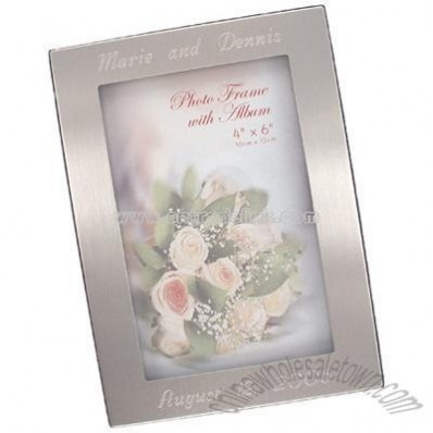 Silver Brushed Photo Album w/ Frame (Holds 100 Pictures)