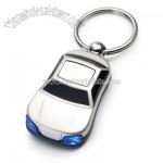 Silver Car Key Chain with Blue LED Headlights