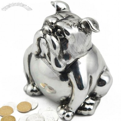Silver Ceramic Dog Coin Bank