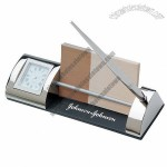 Silver Clock and Card Holder Pen Set