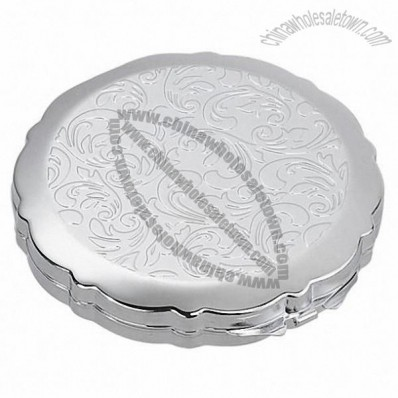 Silver Compact Mirror with Floral Design