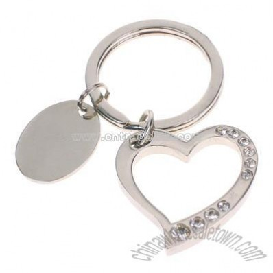 Silver Heart Key Chain with Crystals
