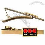 Silver Matte Tie Clips with Brass Etched Soft Enameled Logo