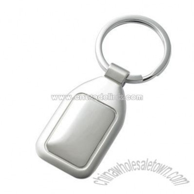 Silver Polished Center Key Chain