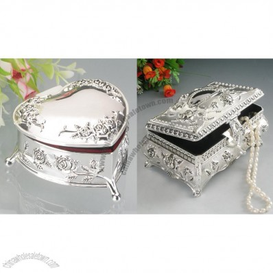 Silver Rectangle Heart Shape Wedding Jewelry Box
