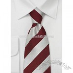 Silver Red Striped Silk Ties
