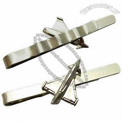 Silver Shiny Tie Clips with 3D Petwer Casting Logo