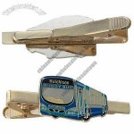 Silver Shiny Tie Clips with Copper Stamped Soft Enameled with Epoxy Logo