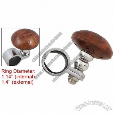 Silver Tone Brown Plastic Alloy Car Truck Steering Wheel Spinner Knob