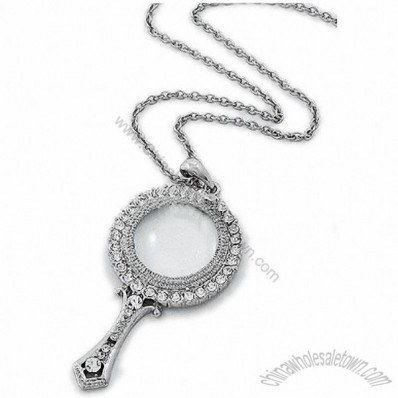 Silver Tone Clear Rhinestones Magnifying Glass Pendant Necklace