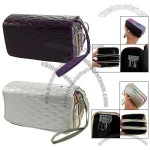 Silver Tone/Dark Purple Textured Faux Leather Organizer Wallet for Lady