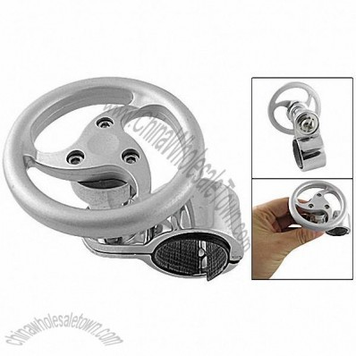 Silver Tone Wheel Design Round Steering Knob Power Handle for Auto Vehicles