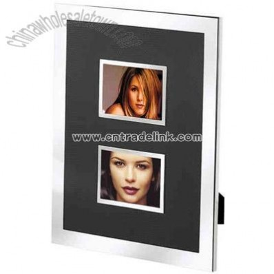 Silver and black faux lizard wedding picture frame