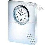 Silver clock with lines