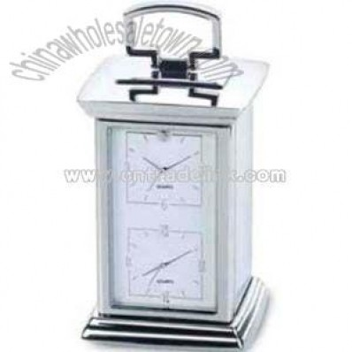 Silver dual time carriage clock