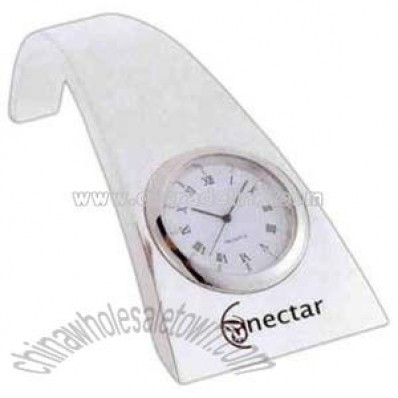 Silver plated arched clock