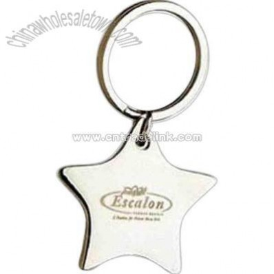 Silver star shape metal key tag