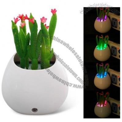 Simulated Cactus Potted Plant Design LED Night Light with Intelligent Light Control