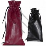 Single Drawstring Wine Pouch/StoneWash Cowhide