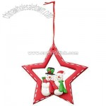 Sitting Santa and Snowman Star Christmas Tree Decoration, Assorted