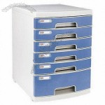 Six-drawer Office Plastic File Cabinet with Lock