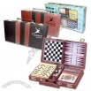 Six in one game set including backgammon, dominoes, cards, chess and more