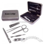 Six piece manicure set in silver tin hinged box