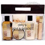 Six piece spa bath kit includes shower gel
