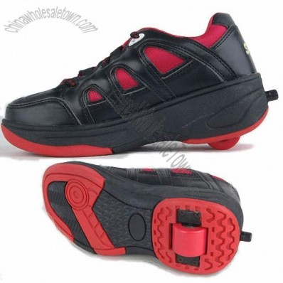 Skate Shoes, Black & Red with Button in Black