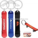 Skateboard shape aluminum metal bottle opener with key chain