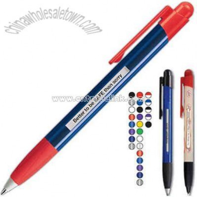 Sleek glossy translucent barrel retractable pen with 5 different message