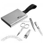 Sleek slim and compact aluminum manicure case set
