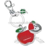 Sliding apple clock keychain
