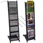 Small 6 Pocket Mobile Literature Display Rack