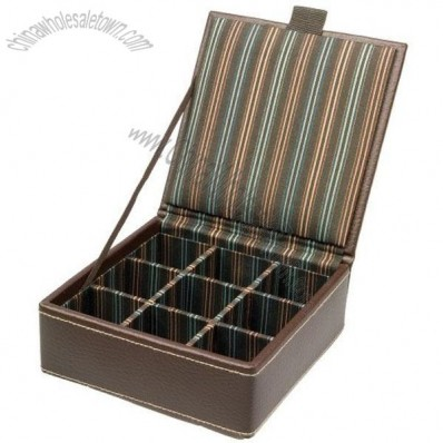Small Brown Leather Single Layer Cufflink Box