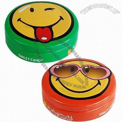 Small Cute Round Candy Tin Box 75 x 28mm