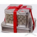 Small Mesh Tin Combo With Chocolate Peanuts & Pretzel Snowballs