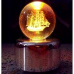 Smooth 3D Laser Engraving Light Crystal Ball Music Box