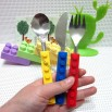 Snack and Stack Building Block Utensil Set