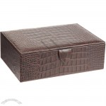 Snake Stamped Leather Cufflink Box