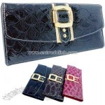 Snakeskin faux leather 3 fold design clutch wallet