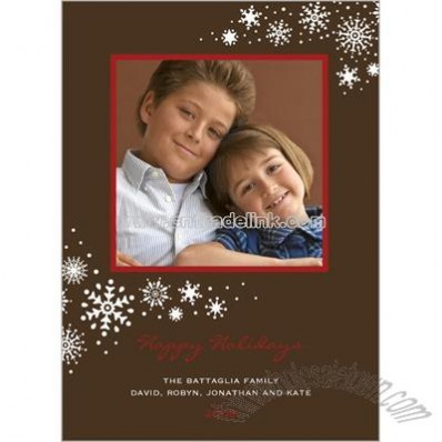 Snow Flourish Cocoa Holiday Card