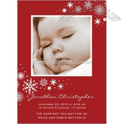 Snow Flourish Scarlet Birth Announcement